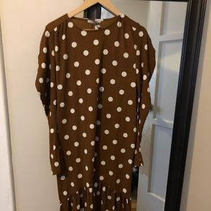 Brown Long Sleeve Polkadot mid length dress